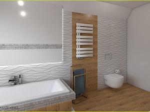 nowoczesna łazienka z podświetlaną wanną - Średnia biała szara łazienka, styl nowoczesny - zdjęcie od wnetrzewdomu