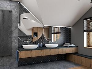 nowoczesna ciemna łazienka - Średnia biała czarna szara łazienka na poddaszu w domu jednorodzinnym z oknem, styl nowoczesny - zdjęcie od wnetrzewdomu
