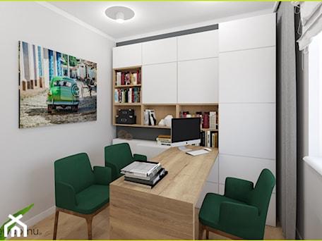 Aranżacje wnętrz - Biuro: Gabinet z zabudową ścienną - wnetrzewdomu. Przeglądaj, dodawaj i zapisuj najlepsze zdjęcia, pomysły i inspiracje designerskie. W bazie mamy już prawie milion fotografii!