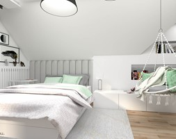 Pokój z wiszącym fotelem dla nastolatki - Pokój dziecka, styl skandynawski - zdjęcie od wnetrzewdomu - Homebook