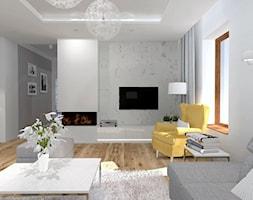 Projekt salonu - Duży szary biały salon - zdjęcie od architekci tu