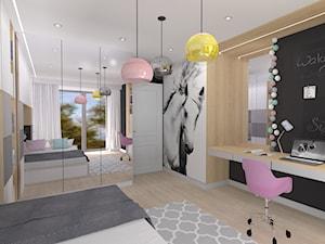 Pokój dziewczynki - Średni biały czarny pokój dziecka dla dziewczynki dla ucznia dla nastolatka, styl nowoczesny - zdjęcie od architekci tu