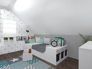 Projekt pokoju dziewczynki - Średni biały szary pokój dziecka dla chłopca dla malucha, styl skandynawski - zdjęcie od architekci tu