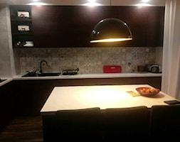 Moja nowa kuchnia - Średnia otwarta beżowa szara kuchnia w kształcie litery l w aneksie z wyspą z oknem, styl kolonialny - zdjęcie od ewahabykk2