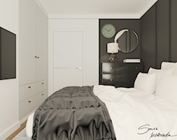 Apartamenty Krosno 2 - Mała biała czarna sypialnia małżeńska, styl nowoczesny - zdjęcie od SMOLIK & WIATROWSKA ARCHITEKTURA WNĘTRZ
