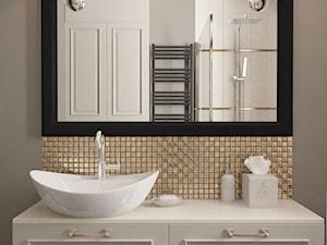 Projekt koncepcyjny dwóch łazienek - Mała brązowa szara łazienka w bloku w domu jednorodzinnym bez okna, styl nowoczesny - zdjęcie od SMOLIK & WIATROWSKA ARCHITEKTURA WNĘTRZ