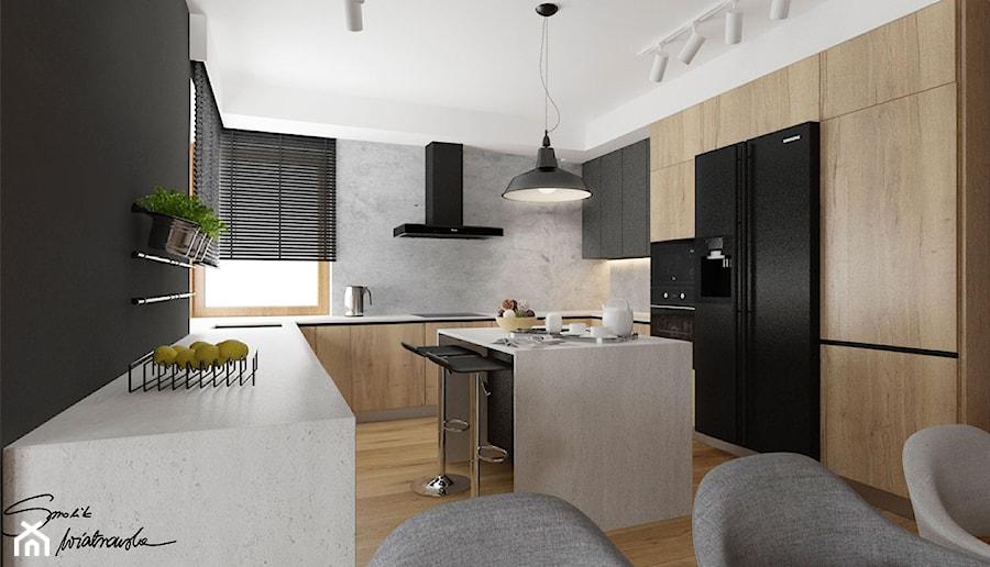 Dom w Sędziszowie Małopolskim - Duża otwarta szara czarna kuchnia w kształcie litery u w aneksie z oknem, styl industrialny - zdjęcie od SMOLIK & WIATROWSKA ARCHITEKTURA WNĘTRZ