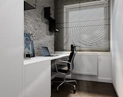 Szklane Tarasy os. Strażacka Rzeszów - Małe szare białe biuro domowe kącik do pracy w pokoju, styl nowoczesny - zdjęcie od SMOLIK & WIATROWSKA ARCHITEKTURA WNĘTRZ