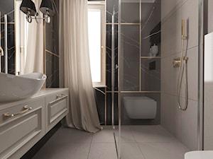 Projekt koncepcyjny dwóch łazienek - Beżowa łazienka, styl klasyczny - zdjęcie od SMOLIK & WIATROWSKA ARCHITEKTURA WNĘTRZ