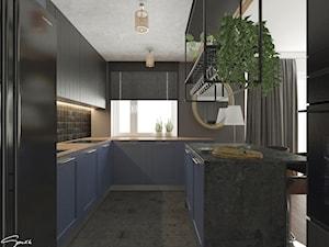 Apartamenty Krosno 3 - Średnia otwarta beżowa szara czarna kuchnia w kształcie litery l w aneksie z wyspą z oknem, styl eklektyczny - zdjęcie od SMOLIK & WIATROWSKA ARCHITEKTURA WNĘTRZ