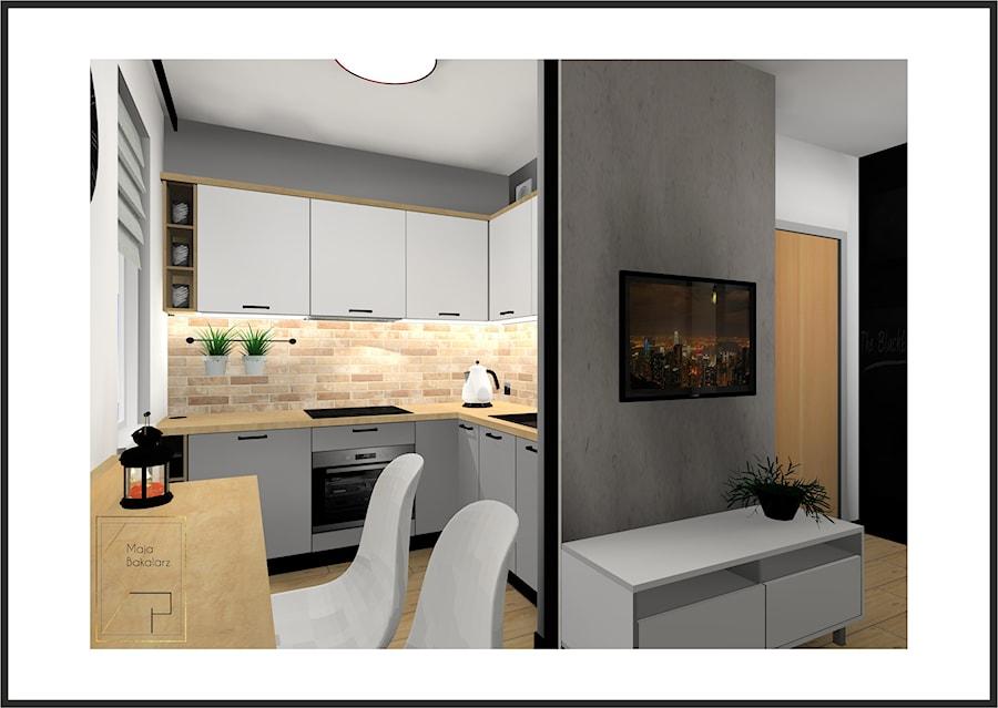 Kuchnia Bialo Szara Z Drewnem I Cegla Zdjecie Od Strefa Projektow