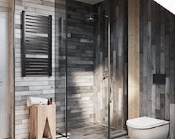 ŁAZIENKA - Mała łazienka na poddaszu w domu jednorodzinnym z oknem, styl minimalistyczny - zdjęcie od TOKO_ARCHITEKTURA - Homebook