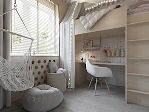 POKOIK DZIECIĘCY - Średni biały pokój dziecka dla dziewczynki dla malucha - zdjęcie od TOKO_ARCHITEKTURA
