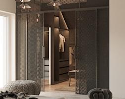 SYPIALNIA - Średnia szara sypialnia małżeńska z garderobą, styl minimalistyczny - zdjęcie od TOKO_ARCHITEKTURA - Homebook