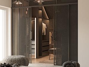 SYPIALNIA - Średnia szara sypialnia małżeńska z garderobą, styl minimalistyczny - zdjęcie od TOKO_ARCHITEKTURA