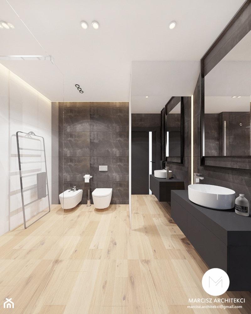 Projekt wnętrz domu 110m2 /k.Limanowa - Duża biała czarna łazienka w bloku w domu jednorodzinnym bez okna, styl nowoczesny - zdjęcie od MARCISZ ARCHITEKCI