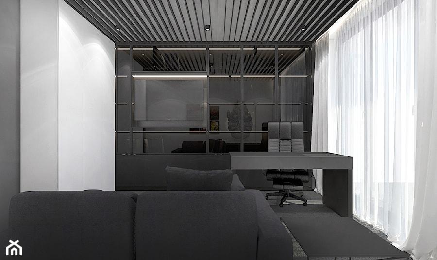 Projekt apartamentu 130m2 / gabinet Kraków - Średnie białe biuro domowe kącik do pracy w pokoju, styl nowoczesny - zdjęcie od MARCISZ ARCHITEKCI