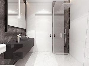 Mała łazienka 4m2 / Limanowa - Średnia biała czarna łazienka w bloku w domu jednorodzinnym bez okna, styl minimalistyczny - zdjęcie od MARCISZ ARCHITEKCI