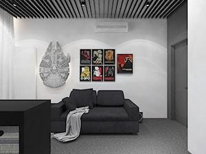Projekt apartamentu 130m2 / gabinet Kraków - Średnie szare biuro domowe w pokoju, styl nowoczesny - zdjęcie od MARCISZ ARCHITEKCI