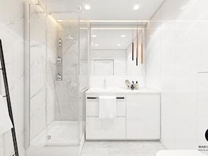 Projekt mieszkania 50m2 w stylu glamour/ Dobczyce - Średnia biała łazienka w bloku w domu jednorodzinnym bez okna, styl glamour - zdjęcie od MARCISZ ARCHITEKCI