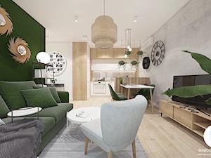 Mieszkanie 32m2 / Kraków Wiślane Tarasy - Średni biały zielony salon z kuchnią z jadalnią, styl skandynawski - zdjęcie od MARCISZ ARCHITEKCI