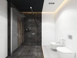 Projekt domu 110 m2/ k. Limanowej - Duża biała czarna łazienka w bloku w domu jednorodzinnym bez okna, styl minimalistyczny - zdjęcie od MARCISZ ARCHITEKCI