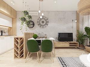 Mieszkanie 32m2 / Kraków Wiślane Tarasy - Średni szary biały salon z barkiem z kuchnią z jadalnią, styl skandynawski - zdjęcie od MARCISZ ARCHITEKCI
