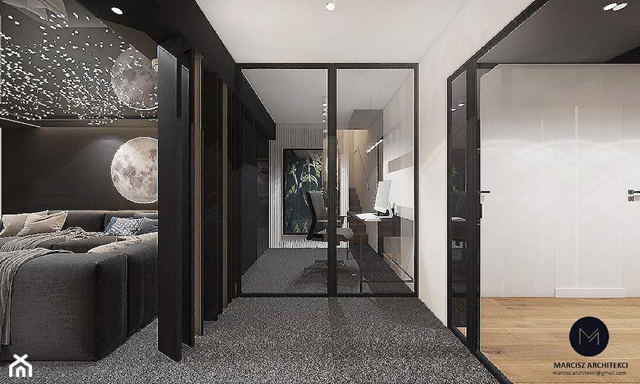 Projekt - Kino domowe w domu jednorodzinnym / k. Limanowej - Małe czarne szare białe biuro domowe w pokoju, styl nowoczesny - zdjęcie od MARCISZ ARCHITEKCI