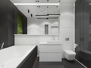 Projekt apartamentu 130m2 / łazienka 2 Kraków - Mała biała czarna łazienka na poddaszu w bloku w domu jednorodzinnym bez okna, styl nowoczesny - zdjęcie od MARCISZ ARCHITEKCI