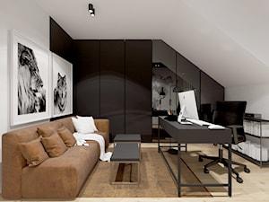 Projekt domu 110 m2/ Kraków - Duże czarne białe biuro domowe kącik do pracy na poddaszu w pokoju, styl nowoczesny - zdjęcie od MARCISZ ARCHITEKCI