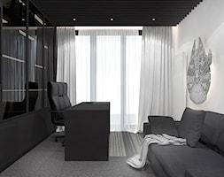 Projekt apartamentu 130m2 / gabinet Kraków - Średnie czarne białe biuro domowe kącik do pracy w pokoju, styl nowoczesny - zdjęcie od MARCISZ ARCHITEKCI