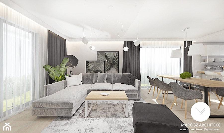 Projekt wnętrz domu 110m2 /k.Limanowa - Salon, styl nowoczesny - zdjęcie od MARCISZ ARCHITEKCI