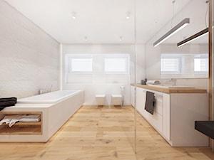 Projekt parteru domu 80m2 / łazienka - Duża biała łazienka w bloku w domu jednorodzinnym z oknem, styl skandynawski - zdjęcie od MARCISZ ARCHITEKCI
