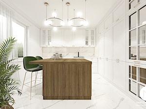 Projekt Kuchni / Dobczyce - Duża otwarta biała beżowa kuchnia w kształcie litery l w aneksie z wyspą z oknem, styl klasyczny - zdjęcie od MARCISZ ARCHITEKCI