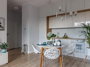 Gdańsk, stylizacja, mieszkanie do wynajęcia - Średnia otwarta szara kuchnia jednorzędowa, styl nowojorski - zdjęcie od Homestagerka w Trójmieście