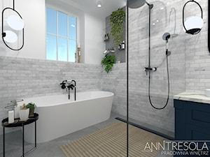 Łazienka 8,95m2 ze strefą kąpielową - zdjęcie od ANNTRESOLA Pracownia Wnętrz