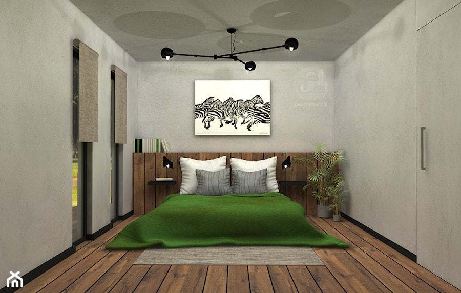 Koncepcja sypialni - Średnia szara sypialnia małżeńska z balkonem / tarasem, styl nowoczesny - zdjęcie od ESS-PRACOWNIA PROJEKTOWA