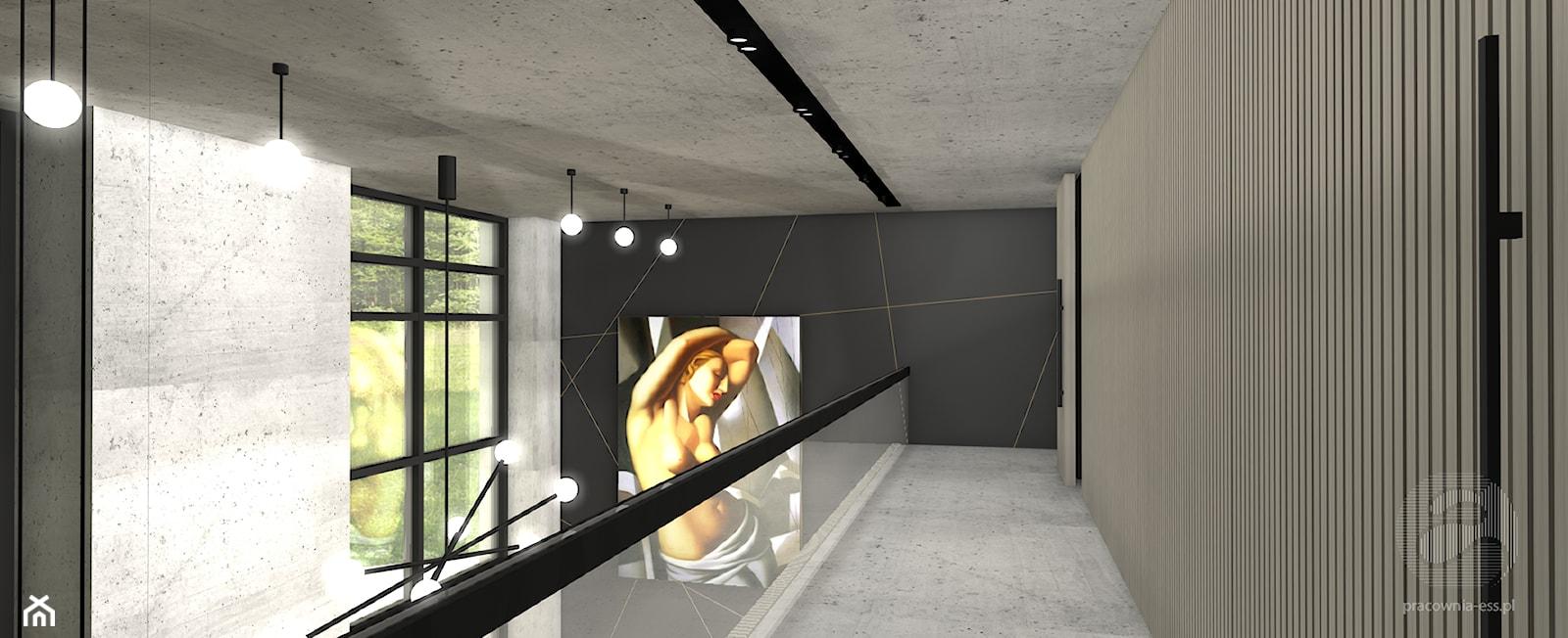 Koncepcja salonu z antresolą - Średni szary czarny salon z antresolą, styl art deco - zdjęcie od ESS-PRACOWNIA PROJEKTOWA - Homebook