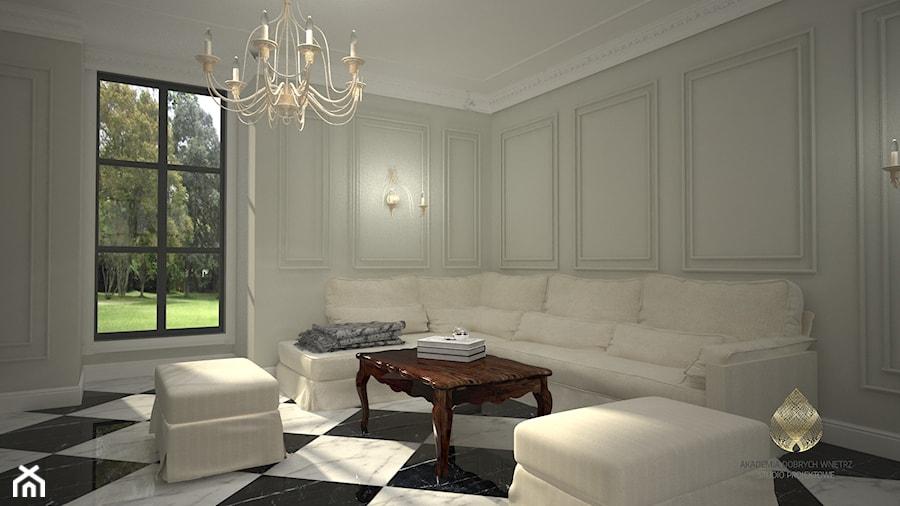 Projekt Domu W Stylu Francuskim średni Szary Salon Styl