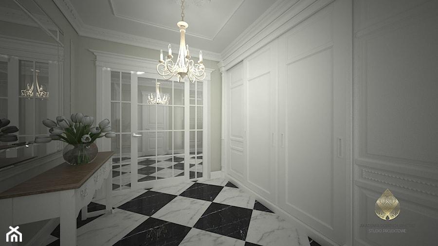 Projekt Domu W Stylu Francuskim Duży Biały Beżowy Hol