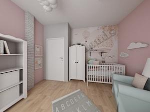 Bliźniak w Łodzi na Widzewie - Średni szary różowy pokój dziecka dla dziewczynki dla niemowlaka - zdjęcie od IDI Studio