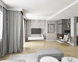 Salon w stylu nowoczesnym - Duży szary biały salon, styl nowoczesny - zdjęcie od IDI Studio