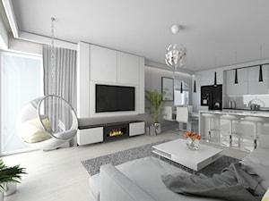 Mieszkanie na łódzkim Widzewie - Duży szary biały salon z kuchnią z jadalnią - zdjęcie od IDI Studio
