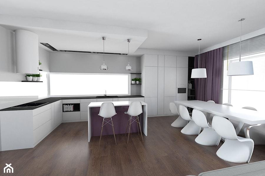 Dom w stylu glamour na Smulsku - Duża otwarta szara kuchnia dwurzędowa z wyspą z oknem - zdjęcie od IDI Studio