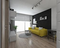 Studencki Wrocław - Średni szary biały salon z tarasem / balkonem - zdjęcie od IDI Studio