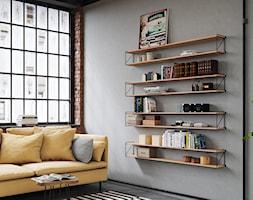 Aranżacje - Duży szary salon z bibiloteczką, styl industrialny - zdjęcie od GTV - Homebook