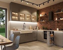 Aranżacje - Duża otwarta beżowa kuchnia w kształcie litery l z oknem, styl industrialny - zdjęcie od GTV - Homebook