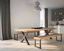 Aranżacje - Duża otwarta biała jadalnia w kuchni w salonie, styl minimalistyczny - zdjęcie od GTV - Homebook