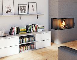 Aranżacje - Średni szary biały salon z bibiloteczką, styl tradycyjny - zdjęcie od GTV - Homebook