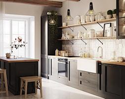 Aranżacje - Duża otwarta beżowa kuchnia jednorzędowa z wyspą z oknem, styl vintage - zdjęcie od GTV - Homebook